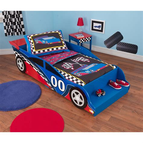 racecar bed boy toddlers race car bed side rails kids cars bedroom