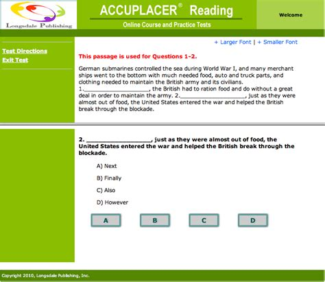 reading comprehension test online accuplacer reading comprehension online course and