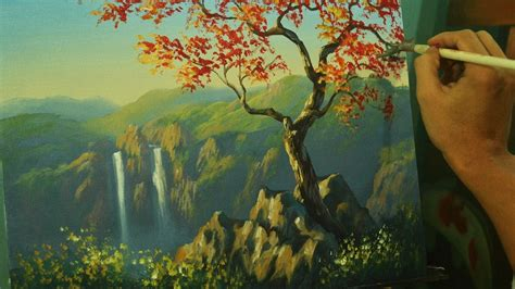 Landscape Pictures For Acrylic Painting Acrylic Landscape Painting Tutorial Autumn Tree With