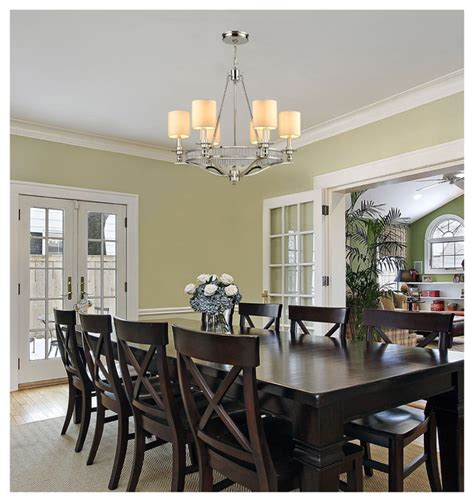 Dining Room Chandeliers Transitional | elk lighting 10167 6 easton polished nickel 6 light