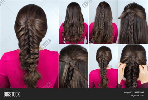 simple and easy hairstyles for party step by step simple hairstyle volume plait on image photo bigstock
