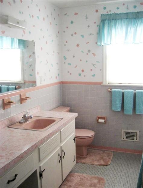 vintage pink bathroom rose stencils atomic painted wallpaper to perk up her