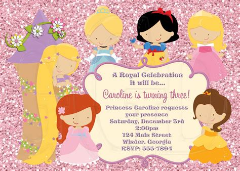 princess theme invitation template princess invitation disney inspired digital file