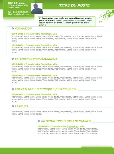 resume format mod 232 les de cv originaux
