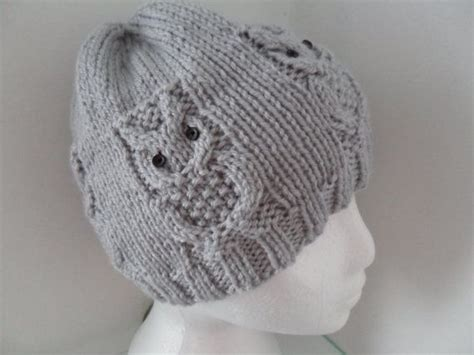 womens owl beanie hat dove grey grey owl and dove grey