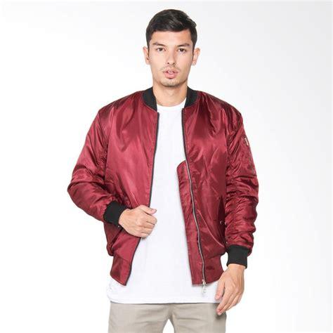 Jaket Bomber Pria Merah Cabe jual vm jaket bomber pria merah maroon harga kualitas terjamin blibli