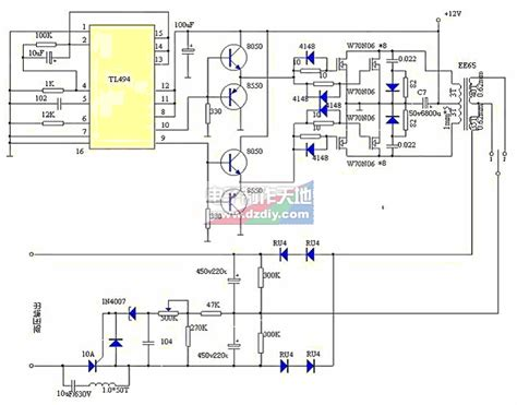 Tl494 Inverter Circuit by Tl494制作12v大功率逆变电源 Tl494 12v Power Inverter