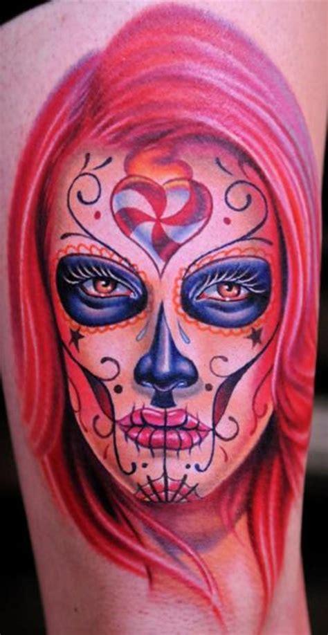 dia delos muertos tattoos dia de los muertos on half sleeve