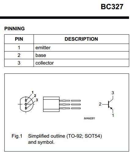 transistor bc337 pinout bc327 datasheet pdf 45v 500ma pnp transistor philips
