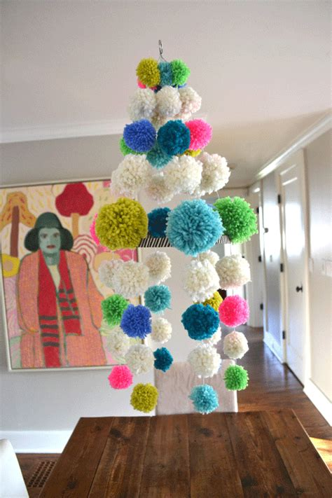 Diy Pom Pom Chandelier Neon Boho Mod Craft Decor Retro Pom Pom Chandelier