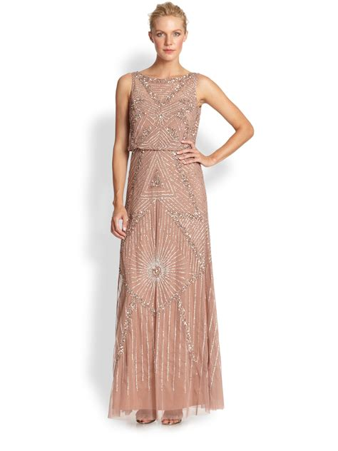 beaded gown lyst aidan mattox beaded gown in pink