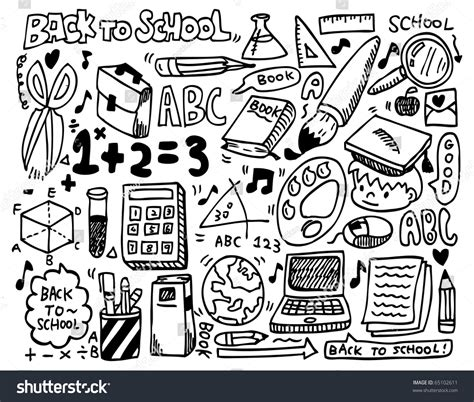 doodle your math book doodle school stock vector 65102611