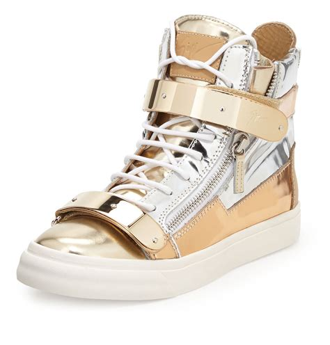 gold giuseppe sneakers s giuseppe zanotti high top metalic sneakers in gold