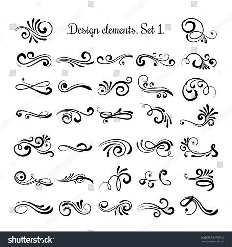 curl pattern en francais swirly line curl patterns isolated on stock vector