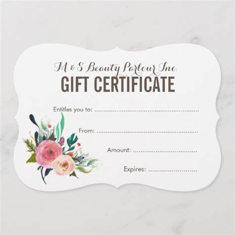 flower gift card template painted floral salon gift certificate template zazzle
