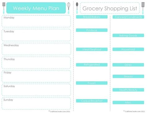 menu chart template weekly dinner meal planner template listmachinepro