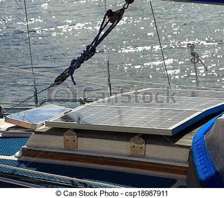 stock photography of solar panels in sailboat renewable