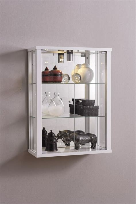 Retail Shop Wall Mounted Glass Display Cabinet Double with