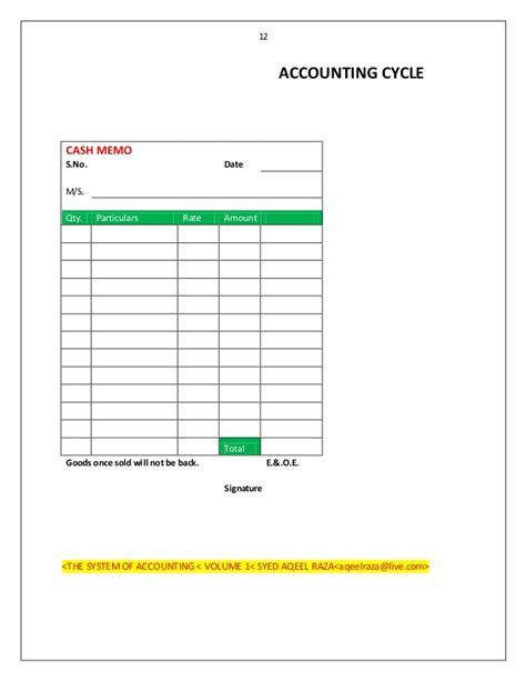 accounting cycle cash memo exle template sle