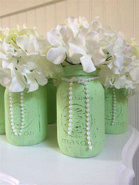 Mint Mason jar centerpieces   Londyn's 1st Bday party