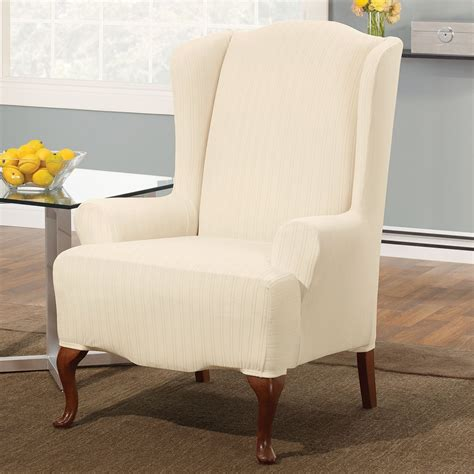 pattern slipcovers cream wingback chair slipcover with striped pattern