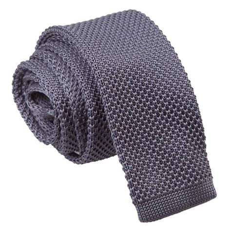 mens knit ties s knitted charcoal tie