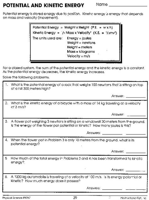 worksheet on kinetic and potential energy potential and kinetic energy worksheet answers projects to try kinetic energy