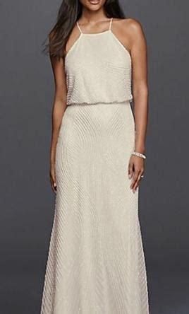 David's Bridal Halter Sheath Casual Wedding Dress with