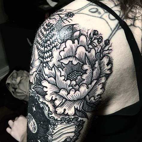 gap filler tattoos peony gap filler blackworkerssubmission blacktattooart