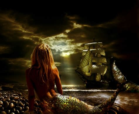 imagenes de sirenas oscuras sirena en la orilla los cuatro elementos