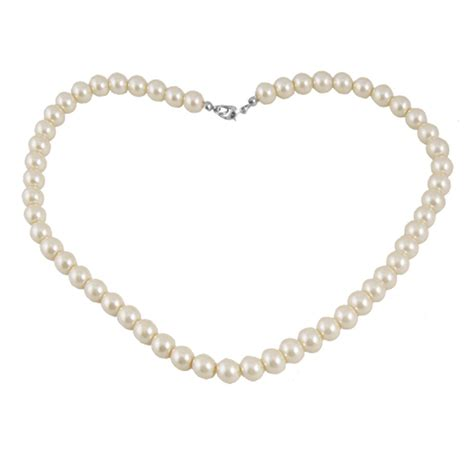 Faux Pearl Necklace plastic clasp white single strand faux pearl