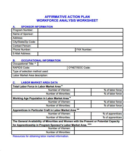 affirmative action plan template 7 free sle exle