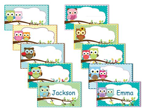 free printable owl nameplates printable owl labels name tags owls instant download