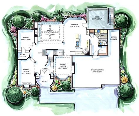 hidden room plans main level features 2 story great room family room study