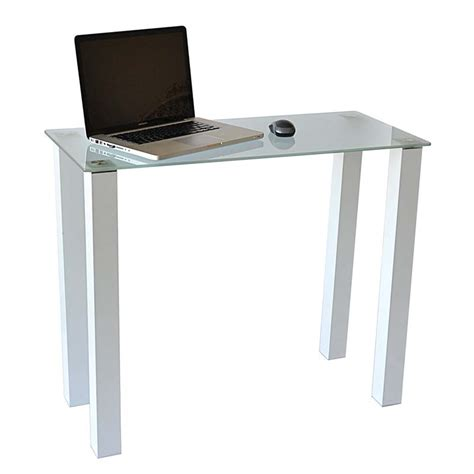 rta frosted glass writing table or laptop desk white ct 015w
