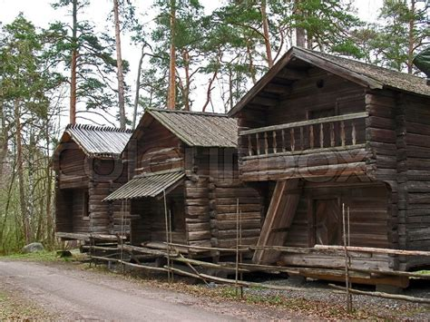 buy house in finland street of old wooden houses in finland stock photo colourbox