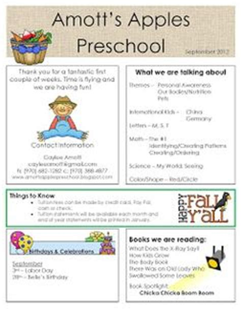1000 Images About Preschool Newsletter On Pinterest Newsletter Templates Preschool Montessori Newsletter Templates