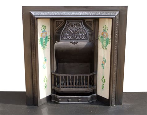 cast iron fireplace insert with antique detailed