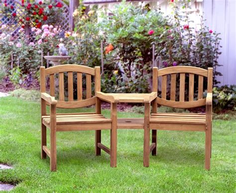 garden bench with table in middle ascot teak garden companion seat bench garden tete a tete bench