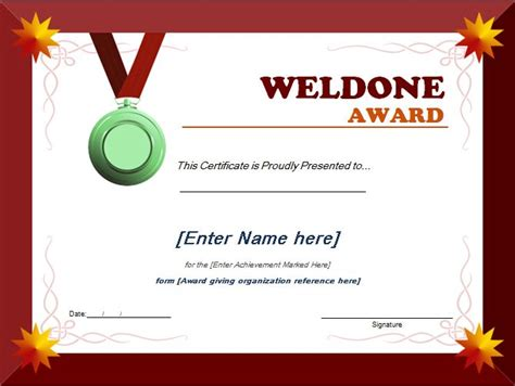 Award Certificate Template by Well Done Award Certificate Template Word Excel Templates