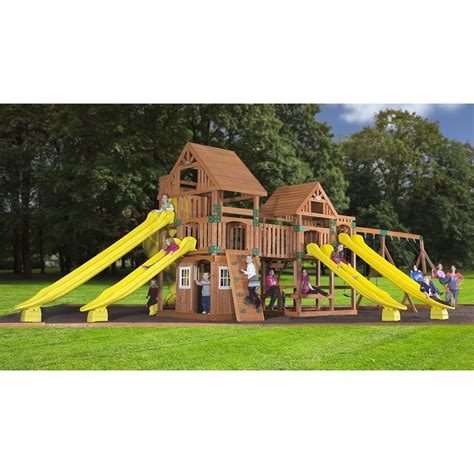 Backyard Playground Sets by Backyard Discovery 54303com Safari Cedar Swing Set Atg