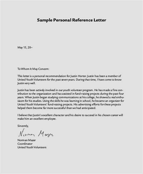 sle personal reference letter 7 exles in word pdf