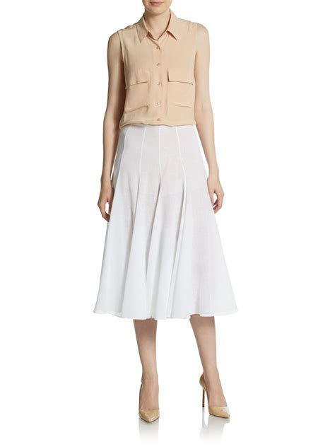 michael kors linen a line skirt in white lyst