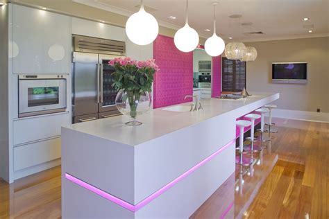 pink kitchen pink kitchen white counter interior design ideas