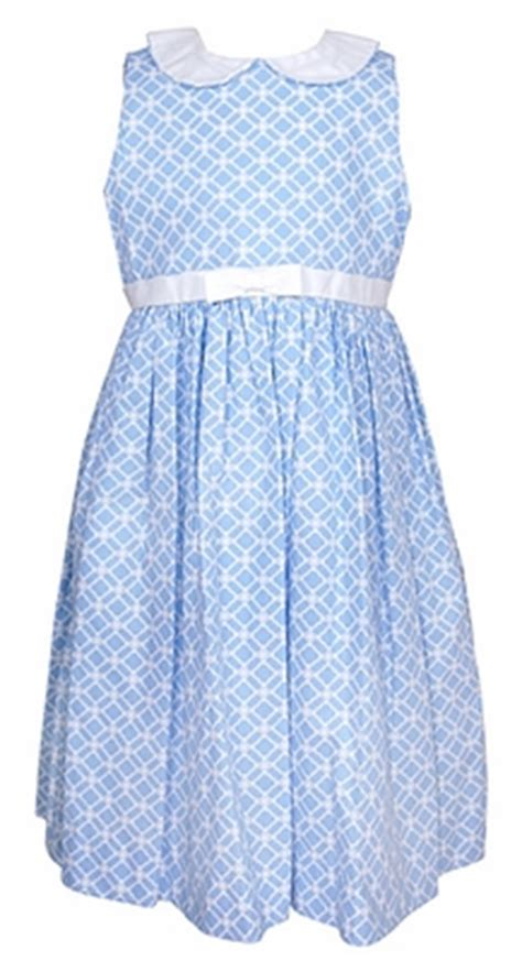 frances johnston blue geometric print sleeveless dress white collar bow sash