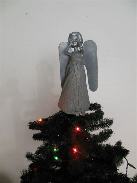 doctor who weeping angel christmas tree topper by lameasaurus