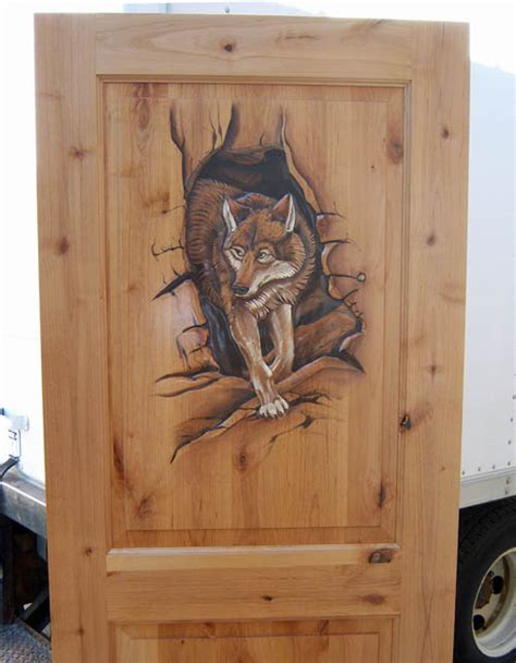 painting the front door diy the wolf the wardrobe hand carved painted door with wolf woodland creek