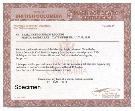 Certificate Of No Record Of Marriage Search Of Marriage Records To Prove Freedom To Province Of Columbia