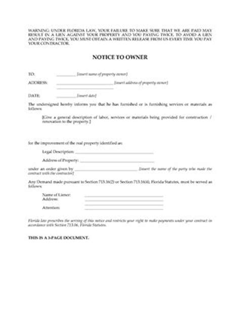Legal Forms And Business Templates Megadox Com Florida Lien Forms Notice To Owner Florida Template