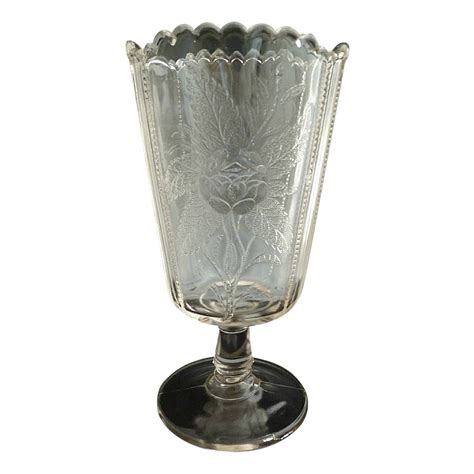 Antique Celery Vase by Antique Glass Celery Vase Moss C 1890 From